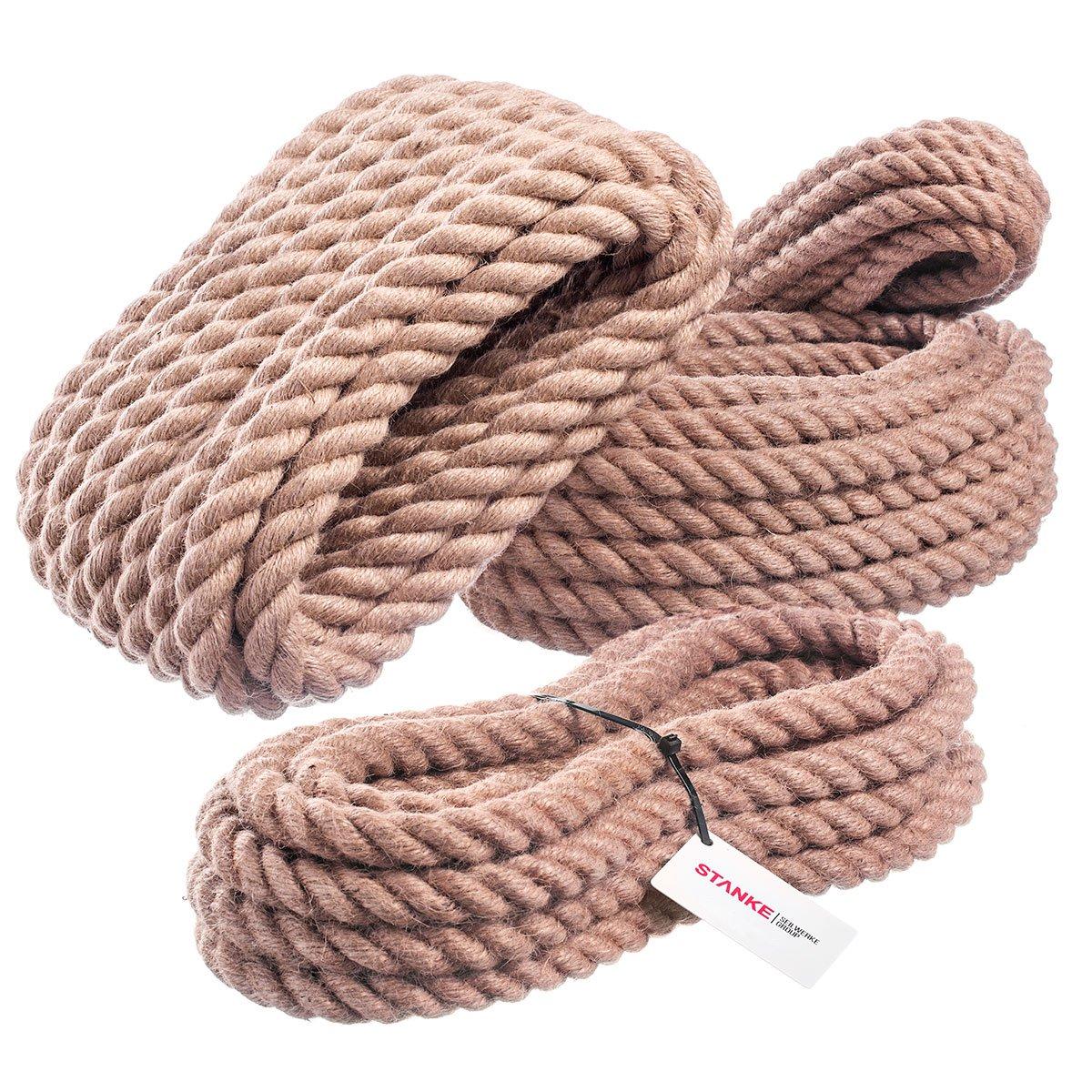 yute 30 mm pasamanos soga fibras naturales trenzada tira y afloja 15 m Cuerda de yute cordeler/ía