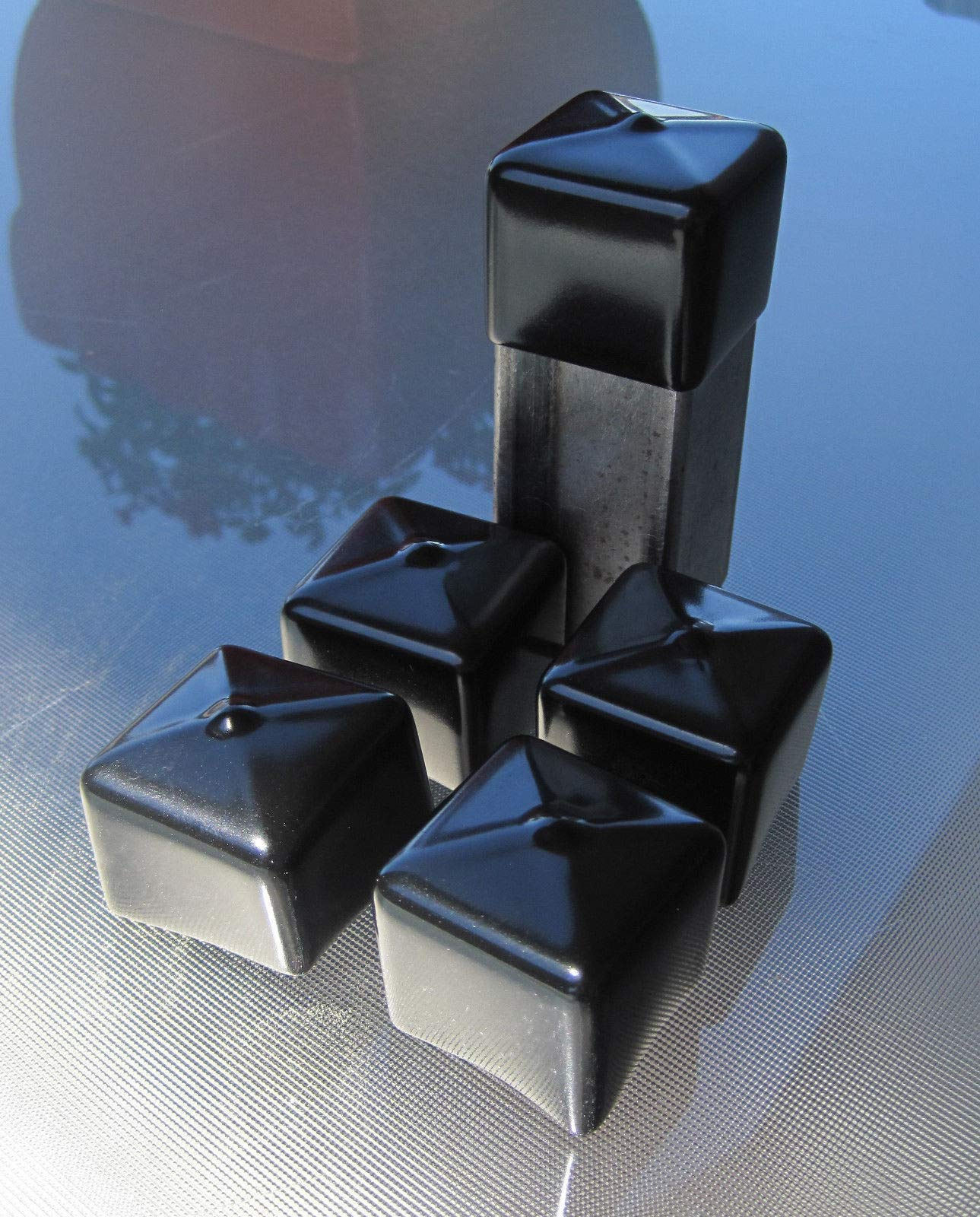 100-1'' Square Vinyl End Cap 1 Inch Deep Flexible Rubber Pipe Tubing Tube Cover by STRIKE ONLINE (Image #2)