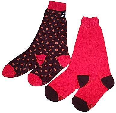 Ewers Doble pack de calcetines en rosa Uni y granate rojo con estrellas Pink, Burgunder 35: Amazon.es: Ropa y accesorios