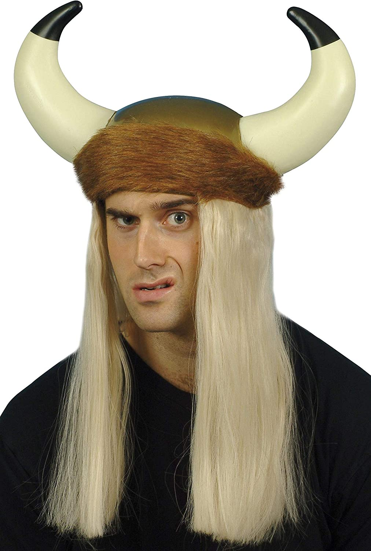 Soft Plush Viking Helmet Studded Furry Horns Halloween Costume Accessory