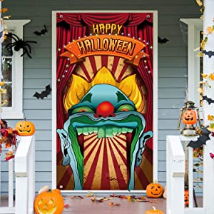 Happy Halloween Decorations Circus Entrance Theme Door Cover Fabric Scary Giant Clown Backdrop Halloween Eve Backdrop Banner for Halloween Haunted House Birthday Zombie Party Decoration, 6 x 3 Feet