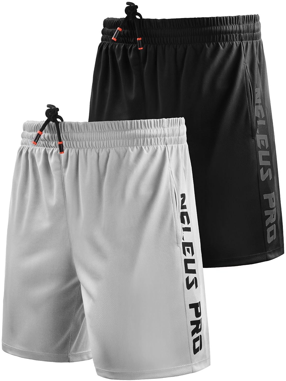 Neleus メンズドライフィットショーツ ポケット付き B077Q9663P 3L,6056# 2 Pack:black,white