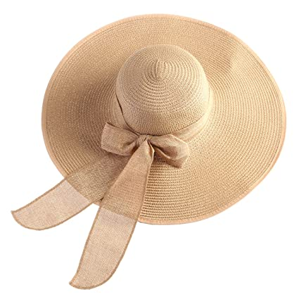 e85957d259e Image Unavailable. Image not available for. Color  OULII Summer Floppy Beach  Straw Hats Bowknot ...