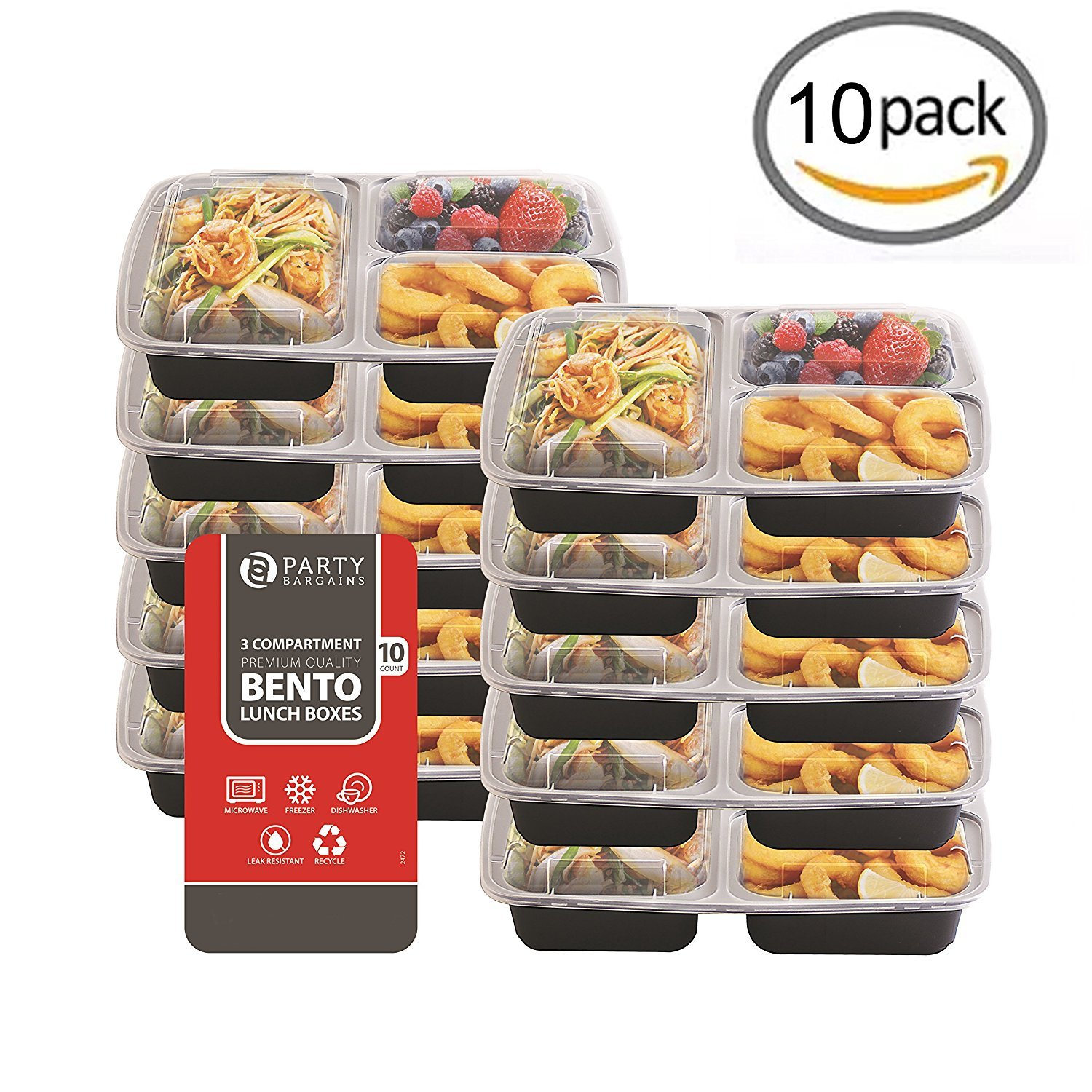 Amazon Com Party Bargains 3 Compartment Rectangular Plastic Food