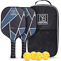 YC DGYCASI Pickleball Paddles Set with 4 Outdoor Balls & Bag (Silver)