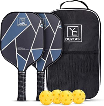 YC DGYCASI Pickleball Paddles Set with 4 Outdoor Balls & Bag