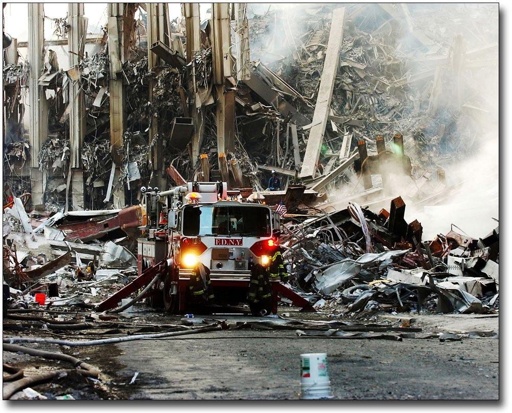 9/11 FDNY Fire Engine at WTC Ground Zero 8x10 Silver Halide Photo Print