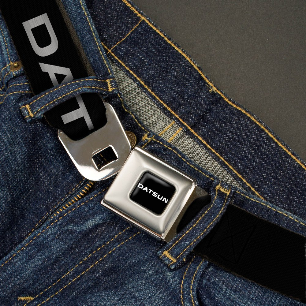 1.0 Wide Buckle-Down Seatbelt Belt 20-36 Inches in Length DATSUN Text Black//White