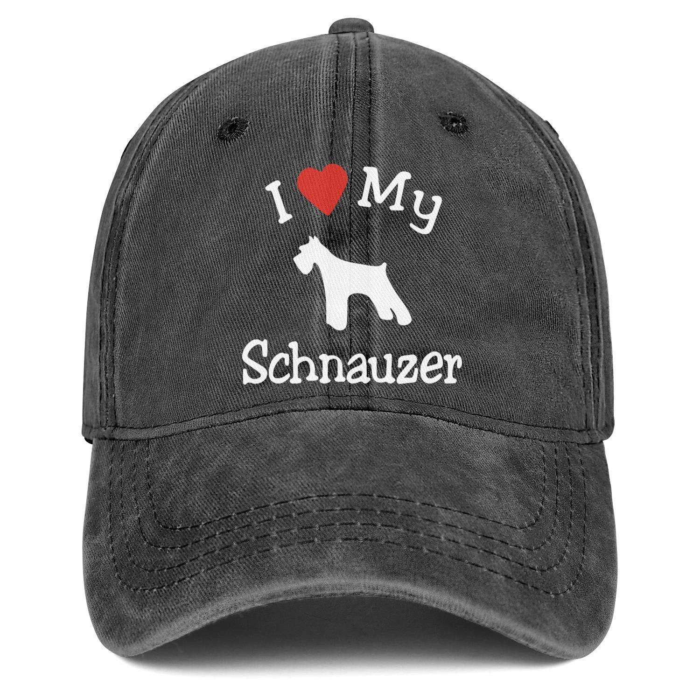 Strapback Hat I Love My Dog Schnauzer Adjustable Cool Tennis Truckers for Women//Men