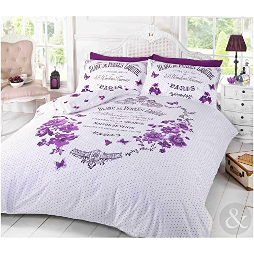 FRENCH PARIS DUVET COVER Shabby Chic Floral Butterfly Purple Bedding Bed Set Damson Plum