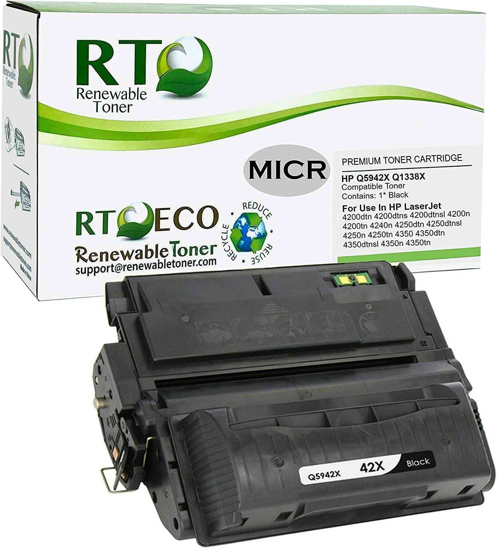 Renewable Toner Compatible MICR Toner Cartridge Replacement for HP 42X 38X Q5942X Q1338X Laserjet 4200 4240 4250 4350