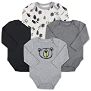 Baby Essentials 4-Pack Long Sleeved Bodysuits (6 Month, Bear)
