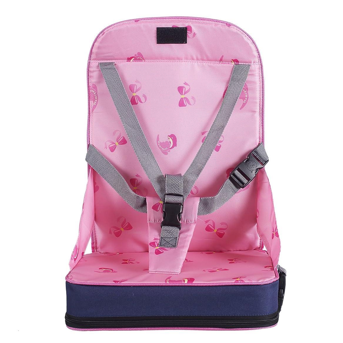 激しい反動契約したZicac 座布団 お食事クッション 子供用 シートクッション ひも付き 食事用 麻布 密度の高いスポンジ 取り外し 洗える 様々な椅子に適用 (水玉柄)