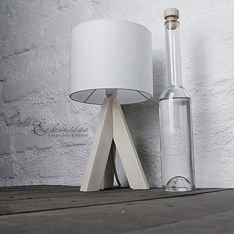 Moderna lámpara de sobremesa pie de madera 31cm Ø17cm tulipa ...