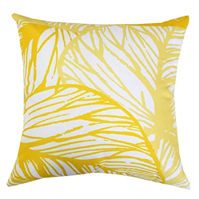 "Homey Cozy Outdoor Accent Pillow Cover (20""x20"", Leaf Yellow) : Garden & Outdoor"