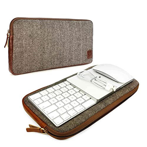 Tuff-Luv Herringbone Tweed Travel Case for Apple accessories Magic Keyboard 1 & 2 / Mouse 1 & 2 / Trackpad 1 & 2 - Brown