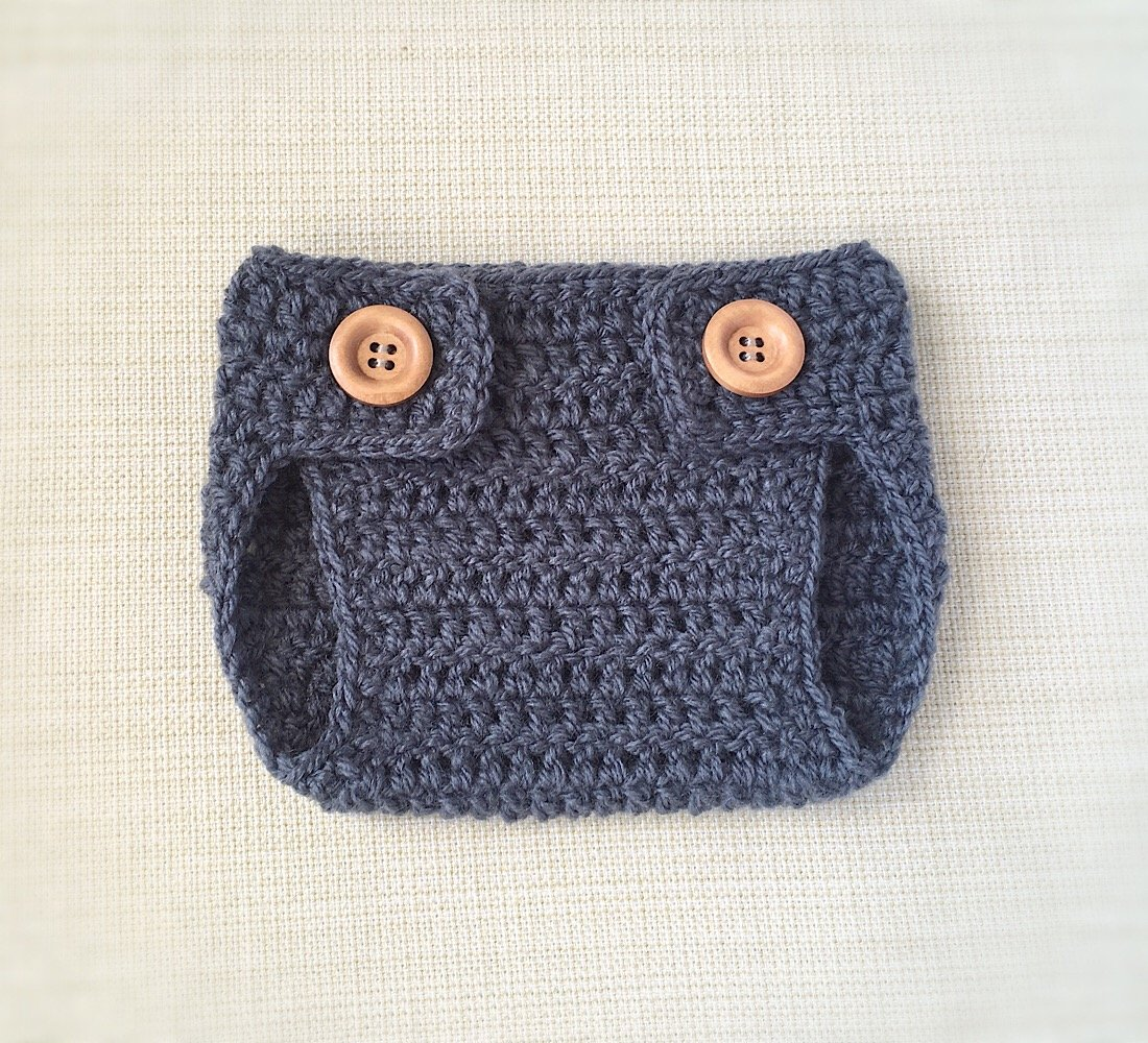 Gray Newborn Diaper Cover Crochet Baby Bloomers Boy Photography Prop Clothes Infant Photo Outfits
