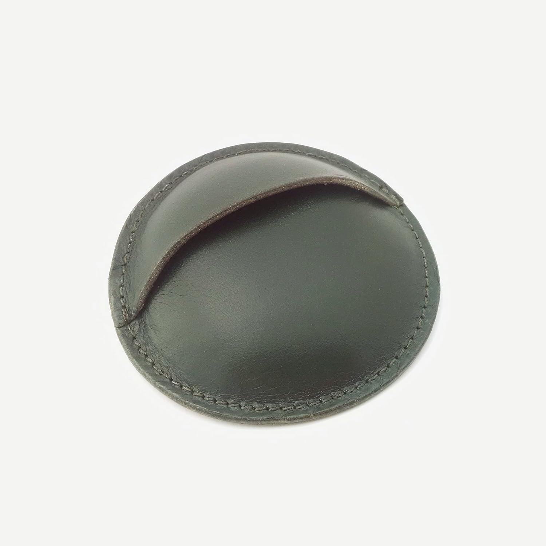 Monedero redondo artesanal de cuero vaquetilla-Verde-8cm ...