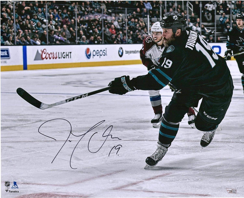 "Joe Thornton San Jose Sharks Autographed 16"" x 20"" Black Jersey Shooting Photograph - Autographed NHL Photos"