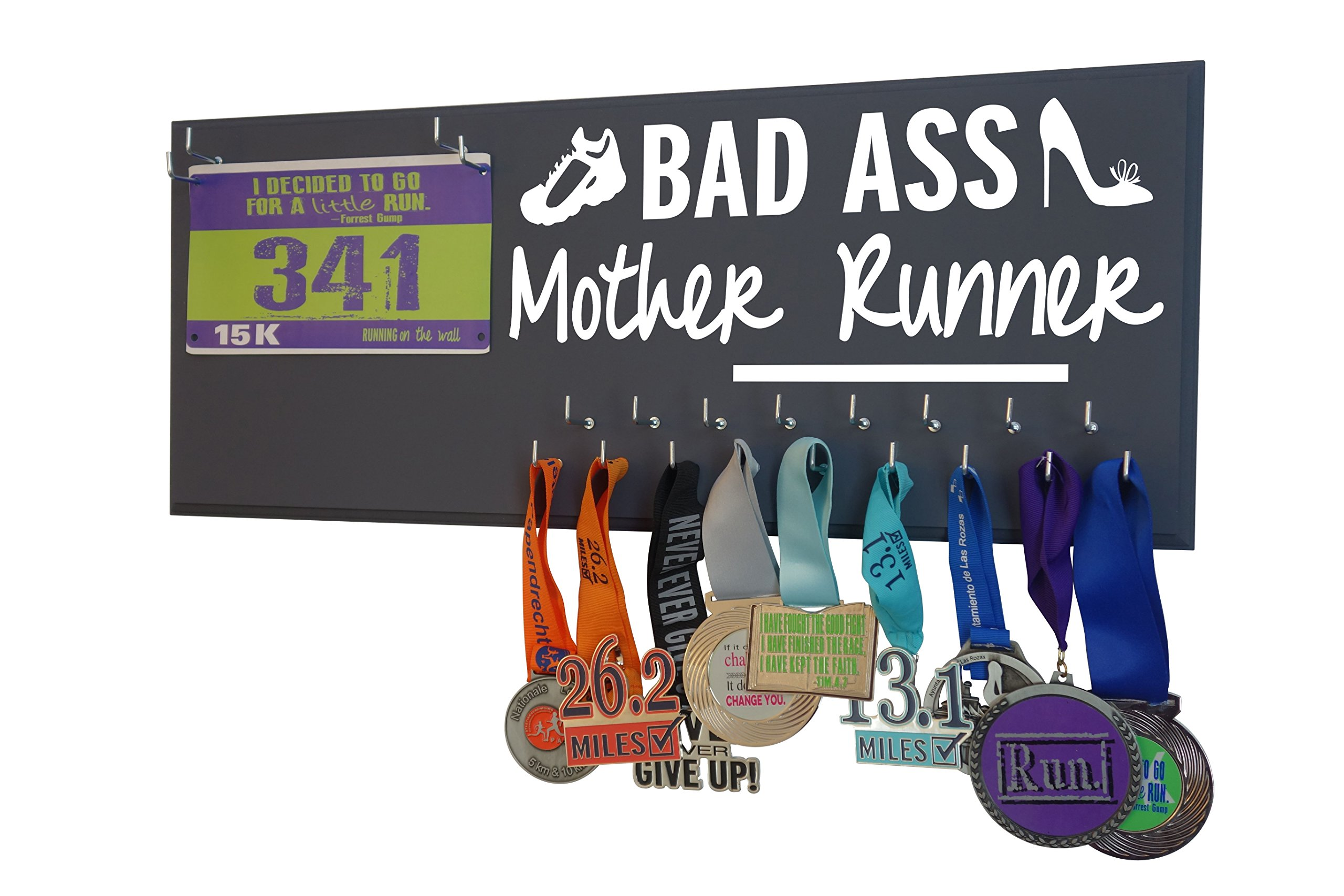 RunningontheWall Medal Hanger Display and Race Bibs ''BAS ASS MOTHER RUNNER'' Running Bib and Medal Holder Combo Design