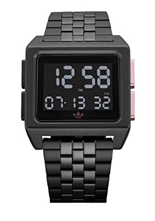 Adidas Watches Archive_M1. Mens 70s Style Stainless Steel Digital Watch with 5 Link Bracelet (36 mm).