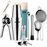 ARSSOO Bartender Kit-Stainless Steel Cocktail Shaker Bar Set with 600/800 ML Weighted Boston Shakers, 25/50ML Jigger, 2…
