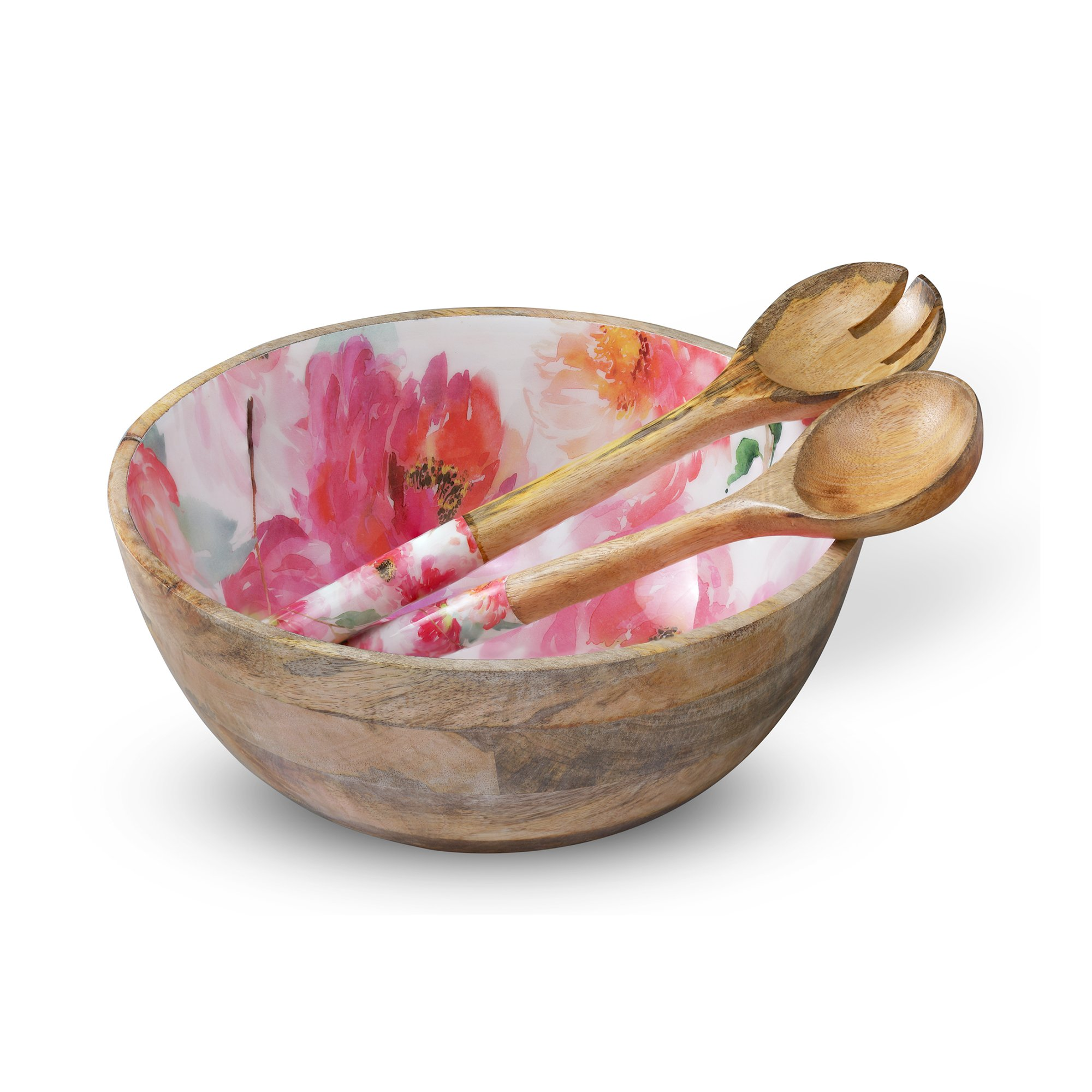 Wooden Salad Bowl Colorful Mixing and Serving Bowls Set with 2 Servers, Large Wood Container Set with Tongs for Fruits, Pasta, Cereal and Vegetable - Round 12'' Diameter x 5'' Height, Floral Design