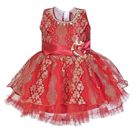 f7a0e7a5abc84 Wish Karo Maroon Net Partywear Frock Dress for 2-3 Years Girls ...