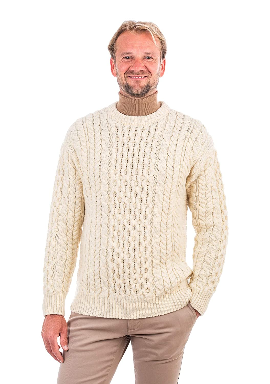 SAOL Traditional Irish 100/% Merino Wool Men Blasket Honeycomb Stitch Aran Sweater