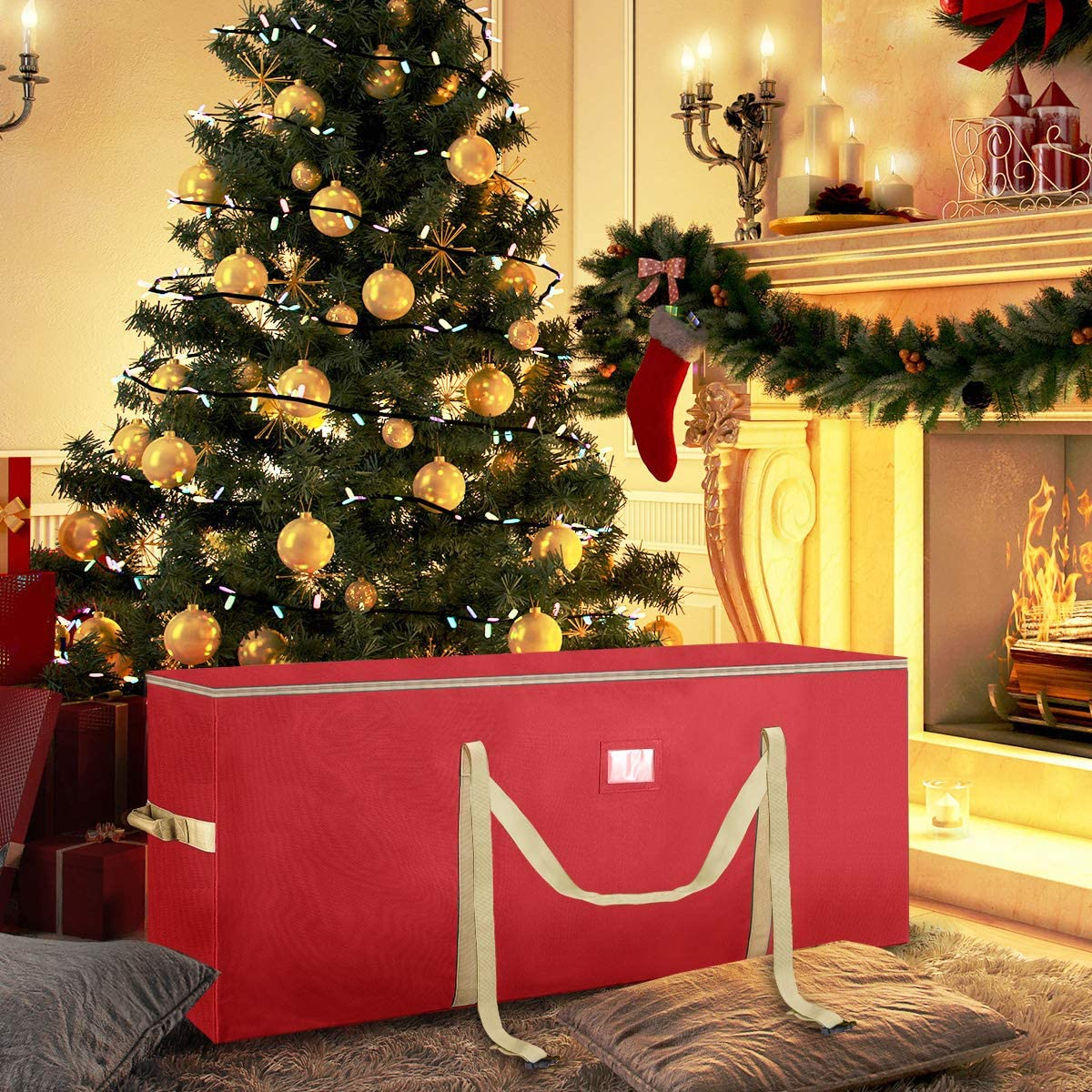 Housolution Weihnachtsbaum Aufbewahrungstasche Rot Bis 8 Ft Tannenbaum lagertasche Schwerlast 600D Oxford Gewebe Transporttasche mit Tragegriff Doppelrei/ßverschluss f/ür Weihnachtsbaum Aufbewahrung
