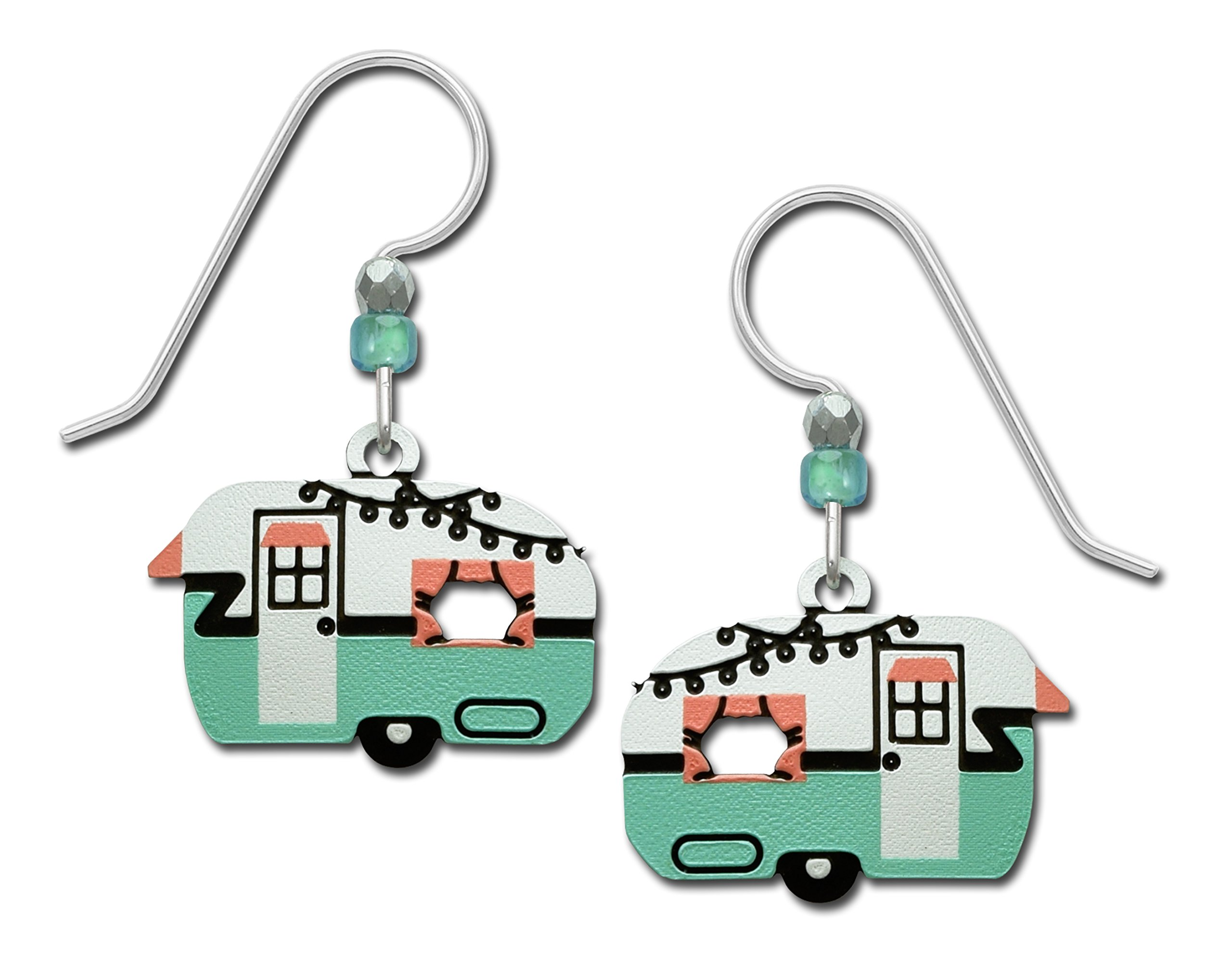 Sienna Sky Vintage Retro Camper Travel Trailer Aqua Pink Hand Painted Earrings Gift Box Made in USA