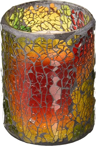 LED Mosaic Flameless Candle, Cracked Glass Pattern, 3 D x 4 H,