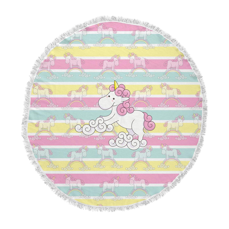 KESS InHouse Shirlei Patricia Muniz Unicornio Multicolor Illustration Animal Print Round Beach Towel Blanket