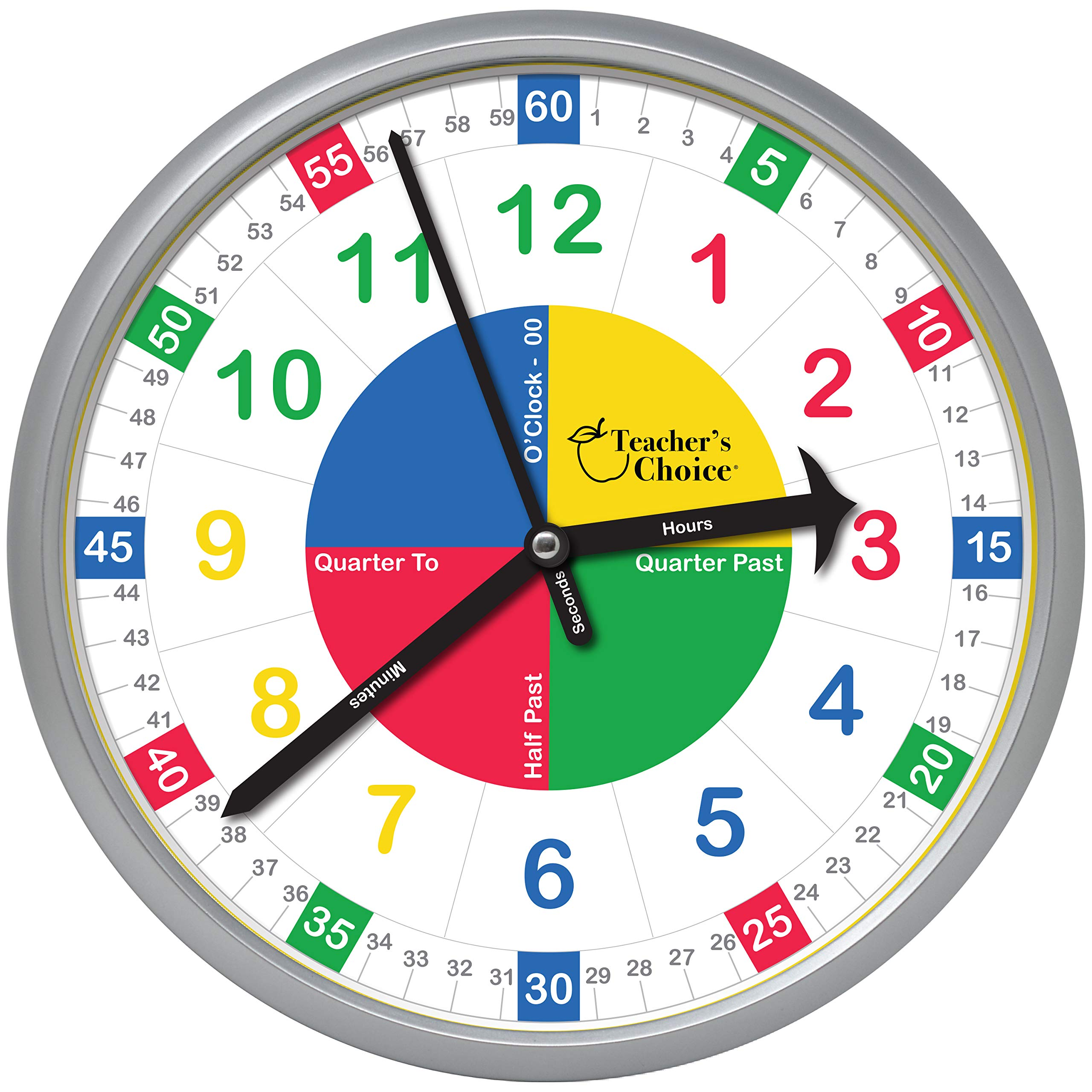 Educational Wall Clock - Time Teaching Clock for Teacher's Classrooms or Children's Bedrooms