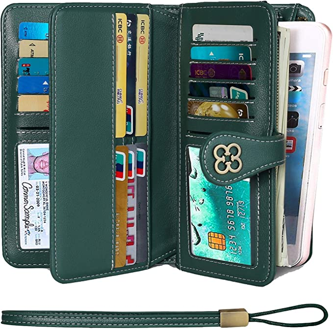 LIUguoo Womens Leather Long Wallet Large Capacity Zipper Around Clutch Wristlet Cell Phone Bags Business Travel Multi Card Money Purse