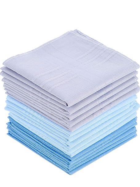 15 Piezas de Pañuelo de Algodón Pañuelo de Bolsillo Cuadrado Grande para Hombres