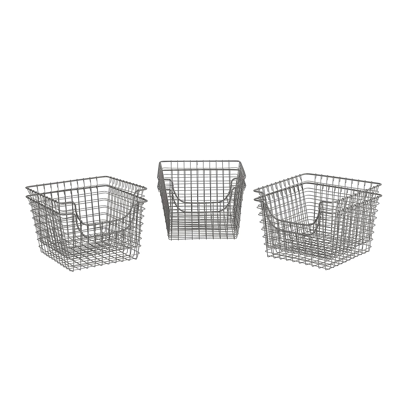Spectrum Diversified Scoop Wire Storage Basket, Medium, Industrial Gray, 2-Pack 98976-2