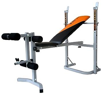 V-Fit Herculean - Banco plegable de pesas con módulo para piernas: Amazon.es: Deportes y aire libre