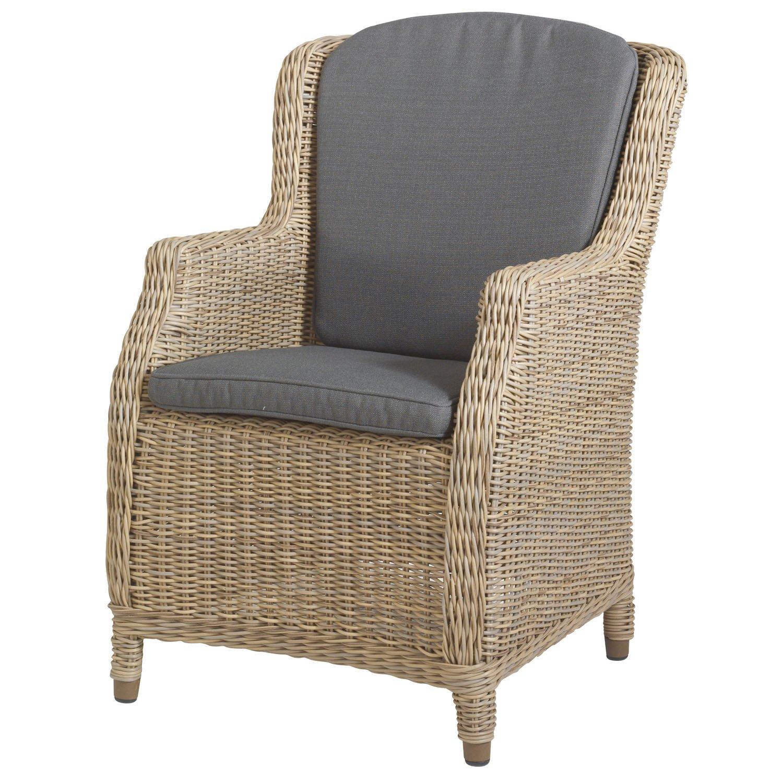 Brighton Stuhle Sessel, Mit Kissen, Wasserdicht, Gepolsterte Rattan Sessel, Grau-Braun Ountdoor Cushiom