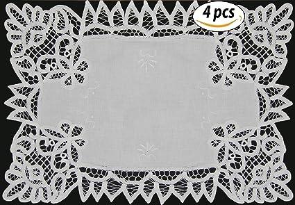amazon com 4pcs white battenburg lace placemats 12x18 set of 4