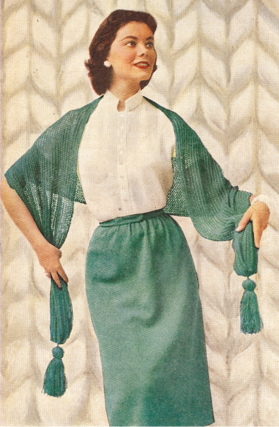 Vintage Scarves- New in the 1920s to 1960s Styles Vintage Knitting PATTERN to make - Knitted Skirt Blouse Stole Wrap Shawl 1950s. NOT a finished item. This is a pattern and/or instructions to make the item only. $7.99 AT vintagedancer.com
