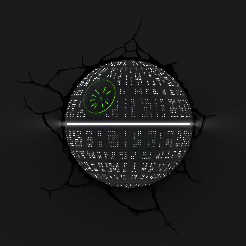 Luz de noche ni/ños LED 3D Light FX Luz de pared con minutero y pegatina de pared Funciona con Pilas L/ámapara Star Wars Death Star Estrella de la Muerte