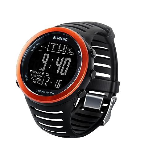 SUNROAD FR720 Reloj de pesca digital para hombre, estilo deportivo, resistente al agua,