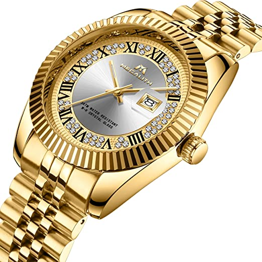 Mens Gold Watches Men Luxury Waterproof Date Stainless Steel Designer Wrist Watch Gents Unisex Business Casual Fashion Analogue Quartz Watch For Men