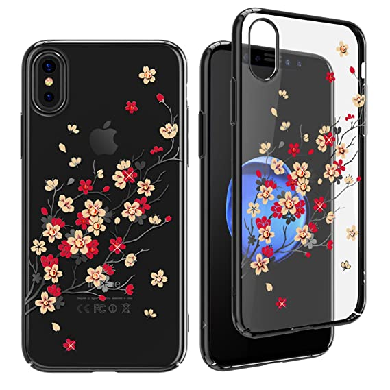 buy online 485f0 7169e KINGXBAR for iPhone X Case,Crystals from Swarovski Element,Slim Fit Bling  Diamond Girls Cover Case for Apple iPhone X