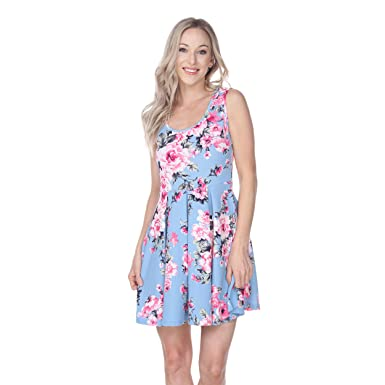 Mili Rose Print Fit and Flare Dress Sleeveless Sundress With Scoop Neckline In Baby Blue