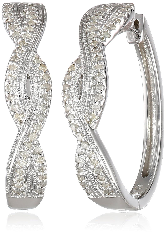 Sterling Silver Diamond (1/3cttw) Hoop Earrings