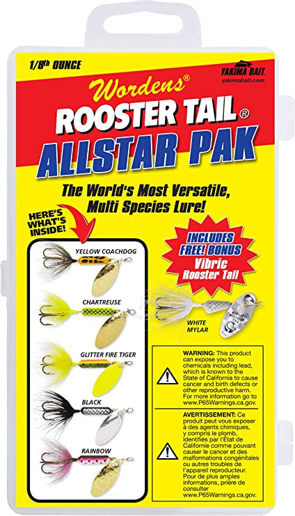 New Worden/'s Rooster Tail 1//8 oz Trophy Pak Spinner Bait Lot Trout Bass 6