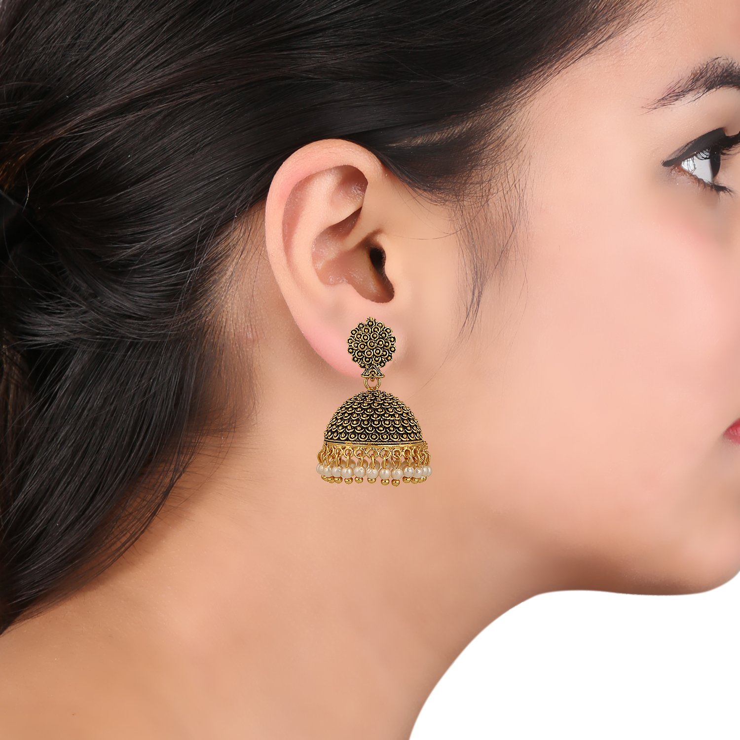 425e7d6df Efulgenz Indian Vintage Bollywood Gypsy Oxidized Gold Plated Traditional  Jhumka Jhumki Earrings for Women and Girls - MER76 < Drop & Dangle <  Clothing, ...