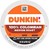 Dunkin' 100% Colombian Medium Roast Coffee, 60 K Cups for Keurig Coffee Makers